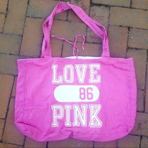Pink Victoria secret love tote beach bag purse